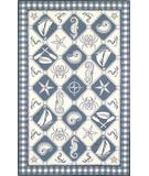 RugStudio presents Kas Colonial Nautical Panel Blue-Ivory 1807 Hand-Hooked Area Rug
