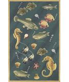 RugStudio presents Kas Colonial Deep Sea Dives Blue 1808 Hand-Hooked Area Rug