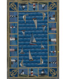 RugStudio presents Kas Colonial Lighthouses Blue 1335 Hand-Hooked Area Rug