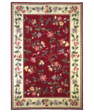 RugStudio presents Kas Colonial Floral Vine Crimson/Ivory 1708 Hand-Hooked Area Rug