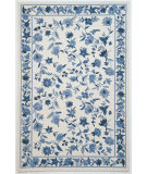 RugStudio presents Kas Colonial Floral Ivory/Blue 1727 Hand-Hooked Area Rug