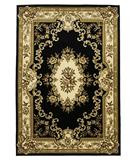 RugStudio presents KAS Corinthian Aubusson Black-Ivory 5310 Machine Woven, Good Quality Area Rug