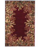 RugStudio presents Kas Emerald Tropical Border 9017 Ruby Hand-Tufted, Best Quality Area Rug
