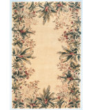 RugStudio presents Kas Emerald Tropical Border 9022 Ivory Hand-Tufted, Best Quality Area Rug