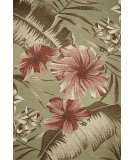 RugStudio presents Kas Horizon 5714 Sage Green Hibiscus Machine Woven, Good Quality Area Rug