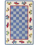 RugStudio presents KAS Kidding Around Cars 426 Blue Ivory Hand-Tufted, Good Quality Area Rug