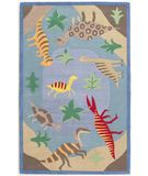 RugStudio presents KAS Kidding Around Dinosaur Fun 427 Blue Hand-Tufted, Good Quality Area Rug