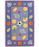 RugStudio presents KAS Kidding Around Let's Play Ball 429 Blue Red Hand-Tufted, Good Quality Area Rug