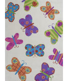 RugStudio presents KAS Kozy Kids 554 Ivory Butterflies Hand-Tufted, Good Quality Area Rug