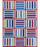 RugStudio presents KAS Kozy Kids 557 Blue/Red Elements Hand-Tufted, Good Quality Area Rug
