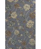 RugStudio presents KAS Mercer 6728 Pewter Floral Hand-Hooked Area Rug