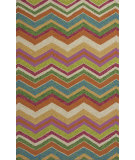 RugStudio presents KAS Meridian 2532 Multicolor Chevron Hand-Hooked Area Rug