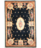 RugStudio presents Kas Ruby Fleur-De-Lis Aubusson Black 8901 Hand-Tufted, Good Quality Area Rug