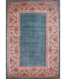 RugStudio presents Kas Ruby Floral Border Slate Blue 8940 Hand-Tufted, Good Quality Area Rug