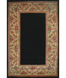 RugStudio presents Kas Ruby Floral Border Black 8941 Hand-Tufted, Good Quality Area Rug