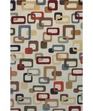 RugStudio presents KAS Tate Retro Frames 8506 Ivory Machine Woven, Good Quality Area Rug