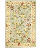 RugStudio presents Kas Winslow Floral Oasis Wedgewood Blue Cream 1907 Hand-Hooked Area Rug