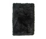 RugStudio presents Fun Rugs Flokati BLACK FLK-007 Black Area Rug