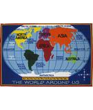 RugStudio presents Fun Rugs Fun Time Kids World Map FT-167 Multi Machine Woven, Good Quality Area Rug