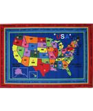 RugStudio presents Fun Rugs Fun Time State Capitals FT-184 Multi Machine Woven, Good Quality Area Rug