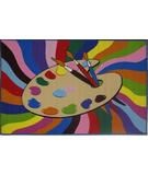 RugStudio presents Fun Rugs Fun Time Painting Time FT-99 Multi Machine Woven, Good Quality Area Rug