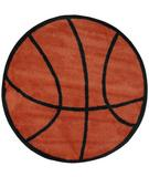 RugStudio presents Fun Rugs Fun Time Shape Basketball FTS-004 Multi Machine Woven, Good Quality Area Rug
