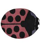 RugStudio presents Fun Rugs Fun Time Shape Pink Lady Bug FTS-074 Multi Machine Woven, Good Quality Area Rug