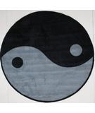 RugStudio presents Fun Rugs Fun Time Shape Ying Yang FTS-152 Gray/Black Machine Woven, Good Quality Area Rug