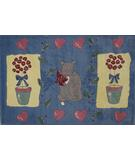 RugStudio presents Fun Rugs Jade Reynolds Cat & Pot JR-TSC-155 Multi Machine Woven, Good Quality Area Rug