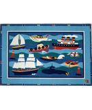 RugStudio presents Fun Rugs Olive Kids Boats & Bouys OLK-002 Multi Machine Woven, Good Quality Area Rug