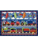 RugStudio presents Fun Rugs Olive Kids Trains, Planes & Trucks OLK-003 Multi Machine Woven, Good Quality Area Rug