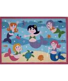 RugStudio presents Fun Rugs Olive Kids Mermaids OLK-051 Multi Machine Woven, Good Quality Area Rug