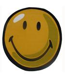 RugStudio presents Fun Rugs Smiley World Smiley Round SW-10 Yellow Machine Woven, Good Quality Area Rug