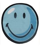 RugStudio presents Fun Rugs Smiley World Smiley Round SW-11 Blue Machine Woven, Good Quality Area Rug