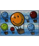 RugStudio presents Fun Rugs Smiley World Hot Air Balloon SW-17 Multi Machine Woven, Good Quality Area Rug