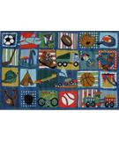 RugStudio presents Fun Rugs Supreme Funky Boys Quilt TSC-248 Multi Machine Woven, Good Quality Area Rug