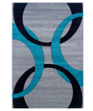 RugStudio presents Linon Corfu Cu04 Grey / Turquoise Machine Woven, Good Quality Area Rug