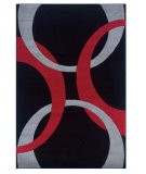 RugStudio presents Linon Corfu Cu05 Black / Red Machine Woven, Good Quality Area Rug