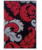 RugStudio presents Linon Corfu Cu10 Black / Red Machine Woven, Good Quality Area Rug