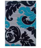 RugStudio presents Linon Corfu Cu12 Grey / Turquoise Machine Woven, Good Quality Area Rug