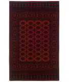 RugStudio presents Linon Gem Turkoman Red / Black Machine Woven, Good Quality Area Rug
