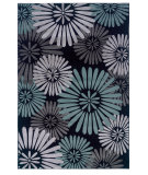 RugStudio presents Linon Milan Mn11 Black / Turquoise Machine Woven, Good Quality Area Rug