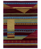 RugStudio presents Linon Trio Ta024 Green / Garnet Hand-Tufted, Good Quality Area Rug