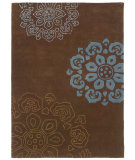 RugStudio presents Linon Trio Tab324 Chocolate / Blue Hand-Tufted, Good Quality Area Rug