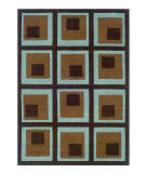 RugStudio presents Linon Trio Tard1 Chocolate / Spa Blue Hand-Tufted, Good Quality Area Rug
