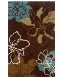 RugStudio presents Linon Trio Tasd0 Brown / Turquoise Hand-Tufted, Good Quality Area Rug