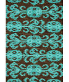 RugStudio presents Loloi Milano Ml-07 Chocolate / Teal Hand-Hooked Area Rug