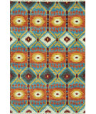 RugStudio presents Loloi Spencer Sc-05 Hm Collection Aqua / Rust Hand-Knotted, Good Quality Area Rug