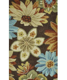 RugStudio presents Loloi Summerton Sumrssc20 Chocolate / Floral Hand-Hooked Area Rug
