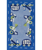 RugStudio presents Loloi Zoey Zo-02 Blue - Green Machine Woven, Good Quality Area Rug